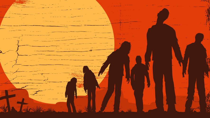 A group of zombies shuffling about in the sunset