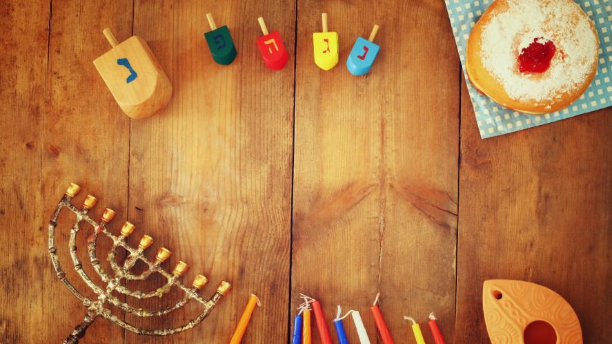 A selection items used to celebrate Hanukkah