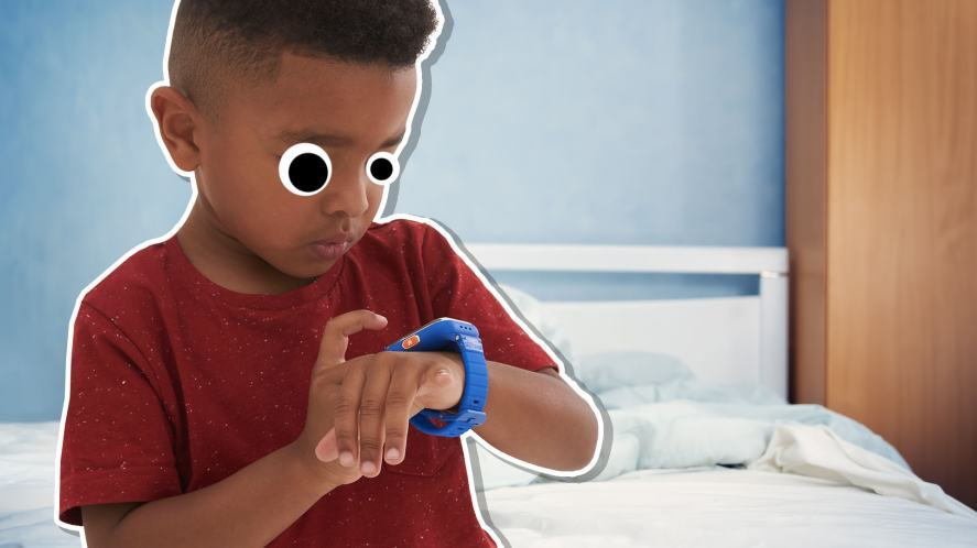 A boy checking his smartphone after waking up