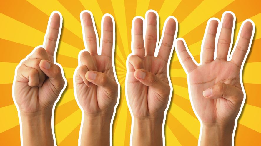 A group of hands holding up fingers to count