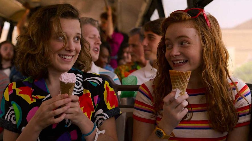 Eleven and Max eating ice cream