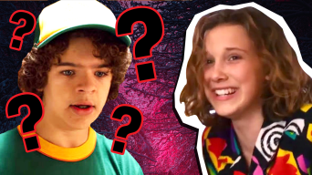 Dustin and Eleven from Stranger Things surrounded by question marks in a horror forest