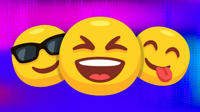 Three smiling emojis
