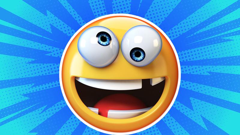 Cross eyed laughing emoji