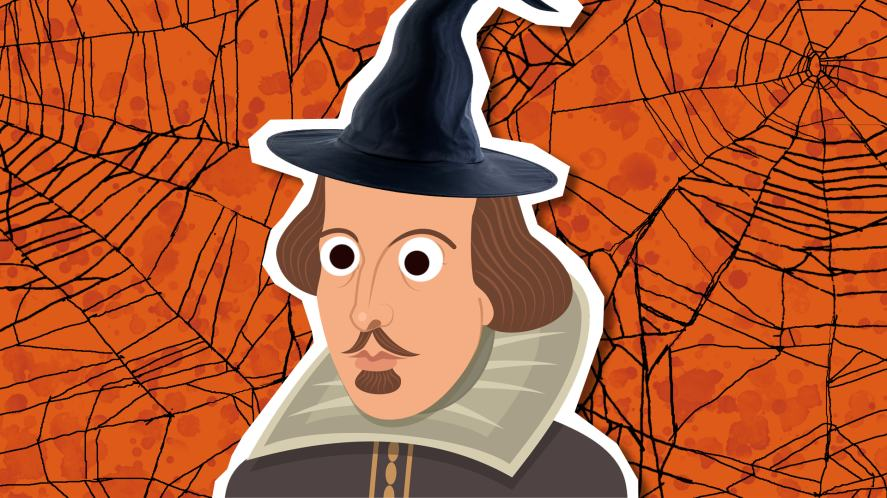 William Shakespeare in a witches hat