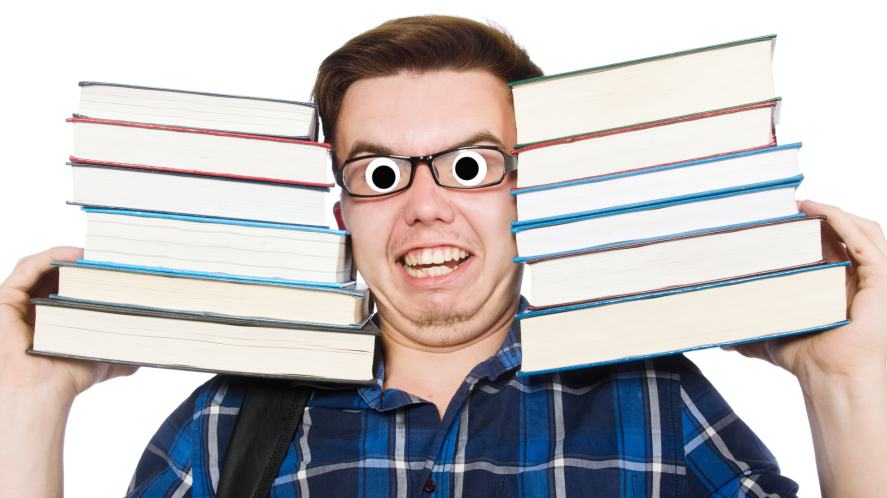 A student carrying too many books