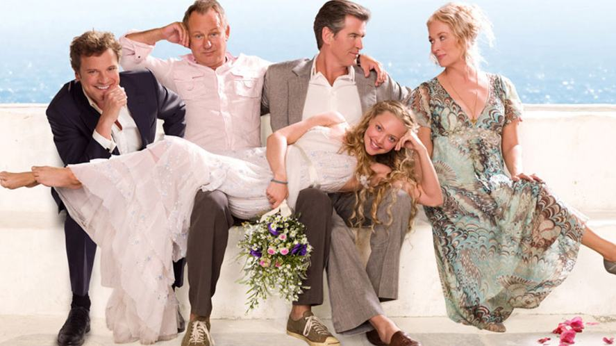 A promotional photo from Mamma Mia, featuring the main characters