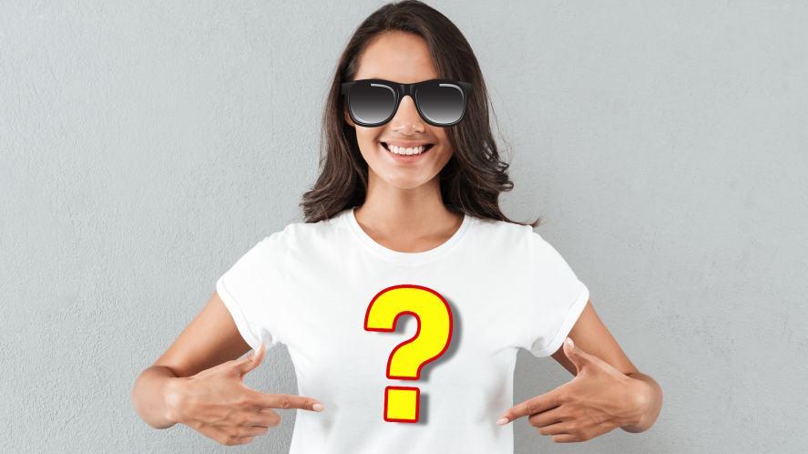 A woman in a crisp white t-shirt