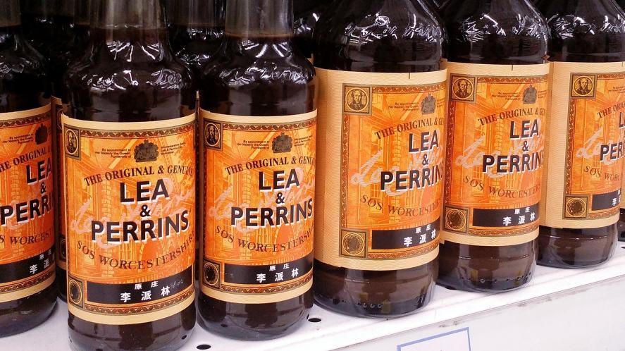 Worcestershire sauce bottles on a shop's shelf