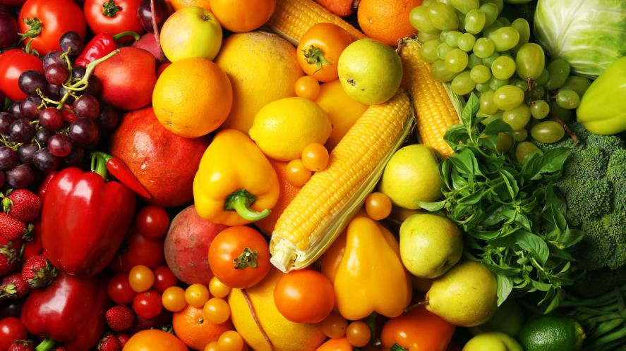 A colourful selection of fruit and vegetables
