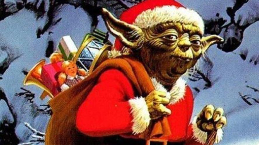 Yoda dressed as Santa Claus