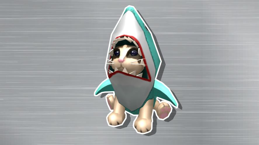 Cat in a shark outfit