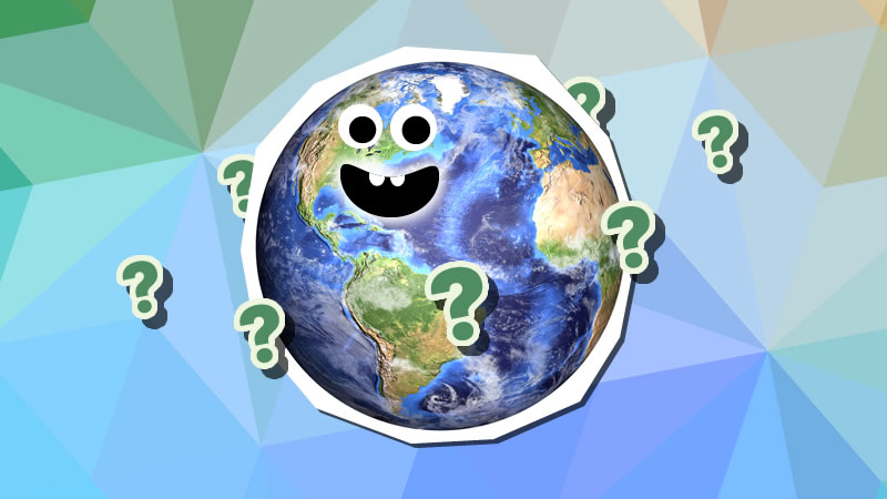 """Plaent Earth with a friendly face asks """"where on Earth is Japan?"""""""