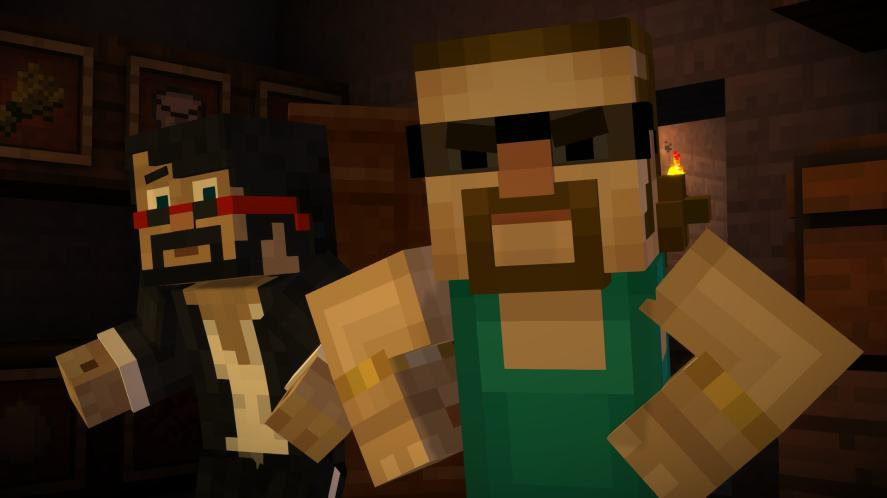 A scene from Minecraft: Story Mode