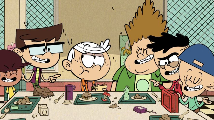 Lincoln Loud eats his lunch in the school cafeteria