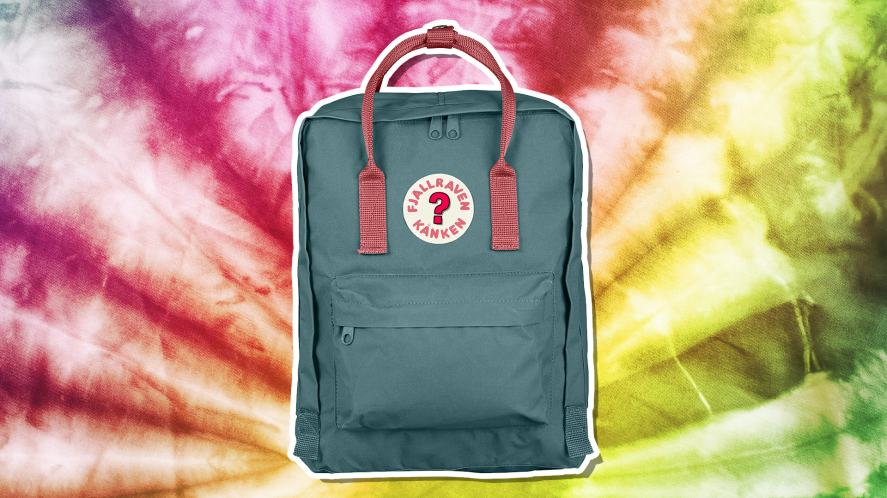 A backpack with a tie-dye background