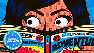 Graphic drawn girl reading graphic novel