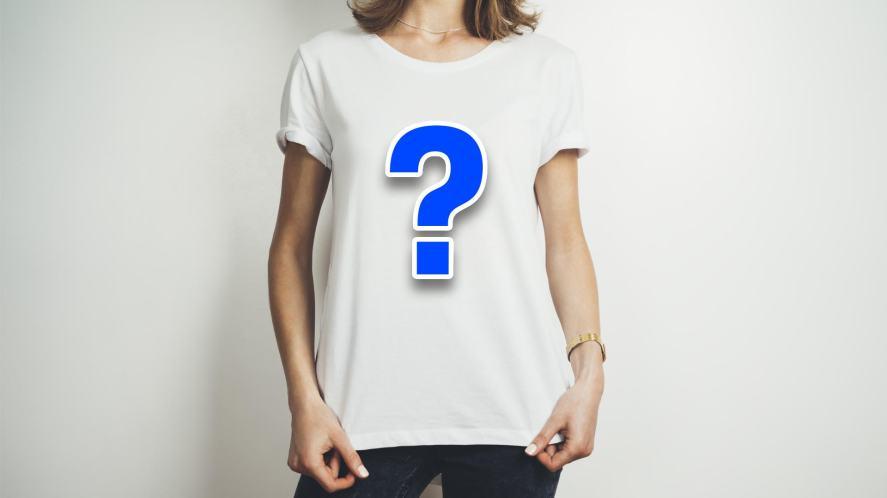 A model wearing a plain white t-shirt