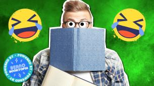 Laughing emojis and boy with book on a green fart smoke background