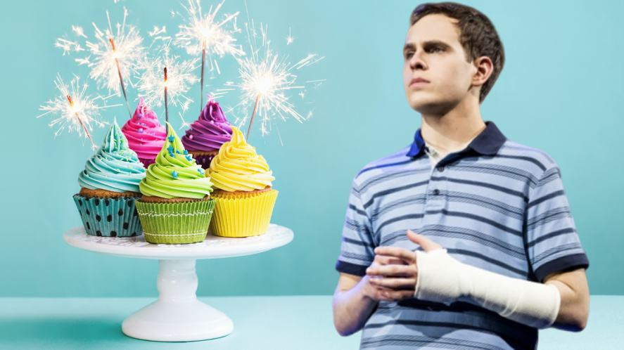 Evan Hansen and a plate of cupcakes