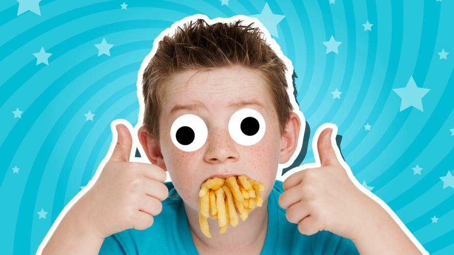 A child with a mouthful of chips, giving the thumbs up