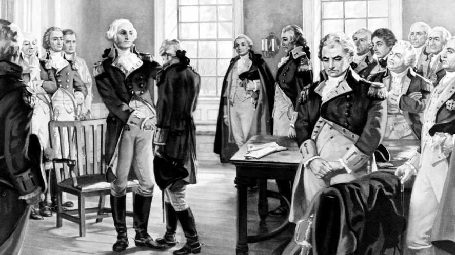 Black and white pencil drawing of historical figures