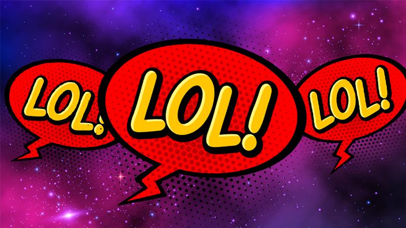 Three red lol speech bubbles