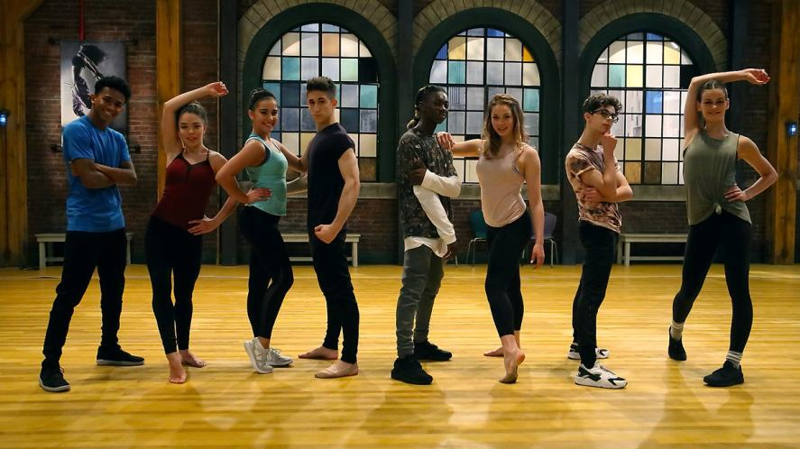 The Next Step gang line up in a dance class