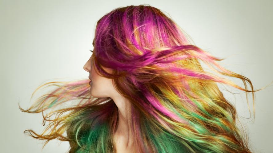 A model shows off her multi-coloured hair