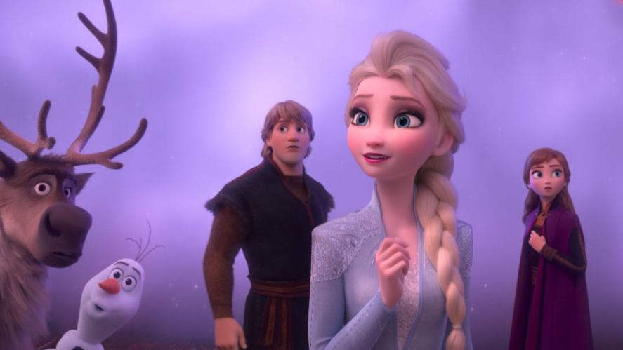 Sven, Olaf, Kristoff, Elsa and Anna in Frozen 2