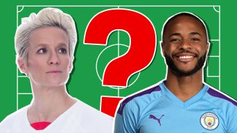 Megan Rapinoe and Raheem Sterling in the Beano 2019 Football Quiz