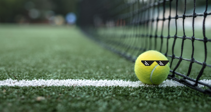 Cool tennis ball hanging by the net