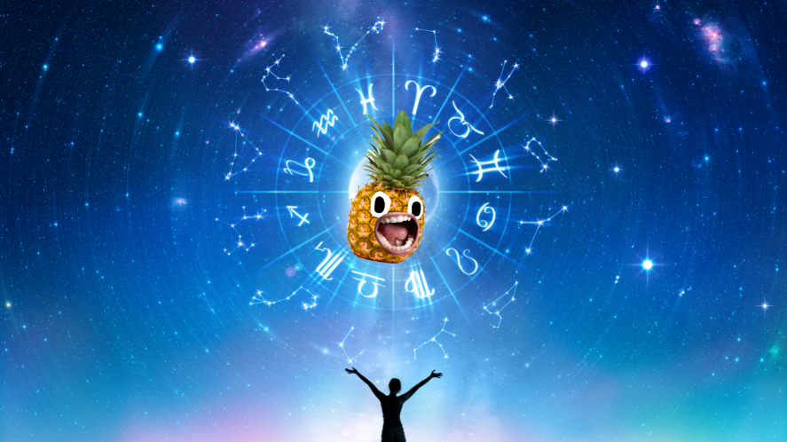 A pineapple in the centre of the zodiac