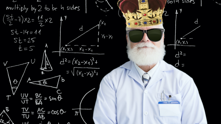 A mathematician wearing a crown
