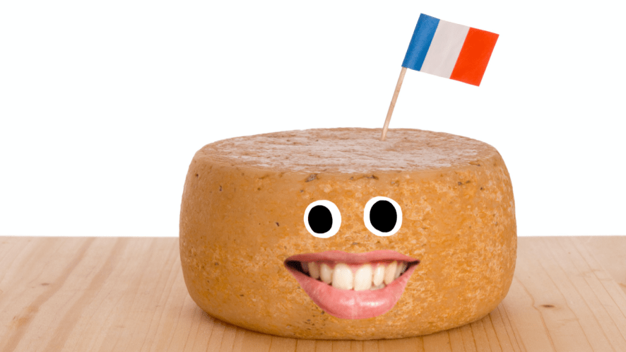 French cheese on wooden board