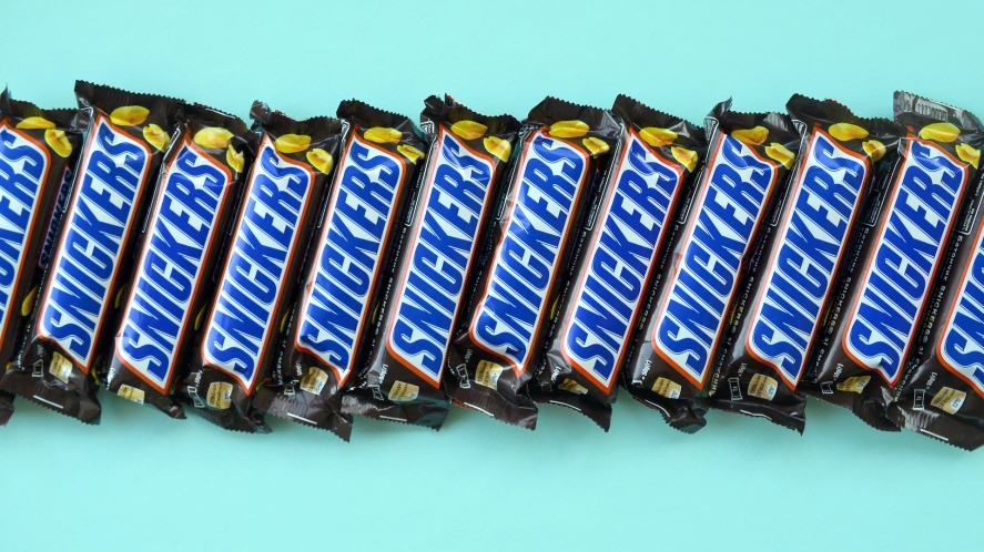 A row of Snickers bars