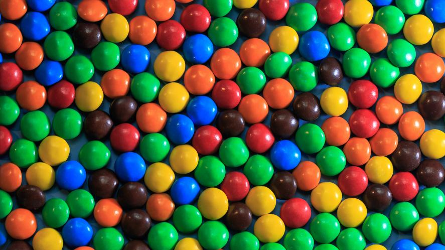 Background of differently coloured M&Ms