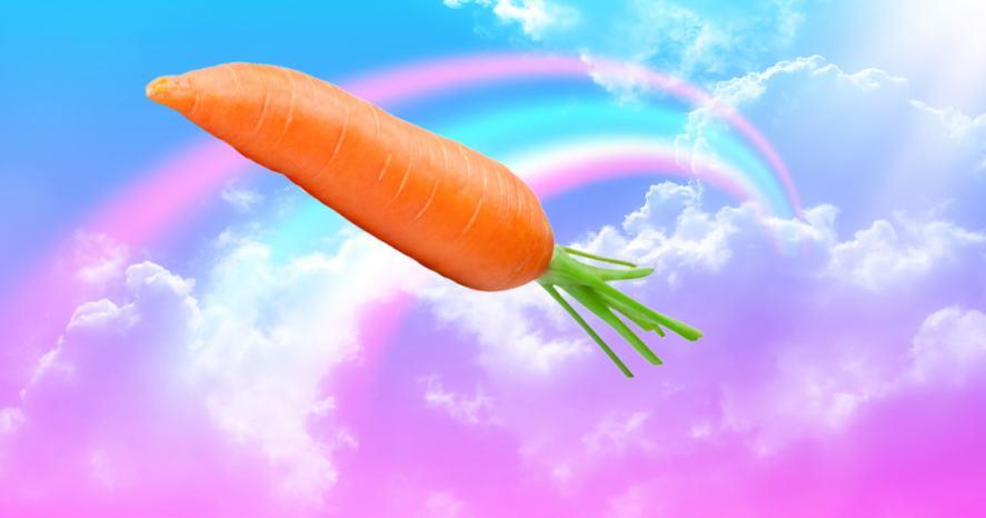 Sky carrot over a rainbow