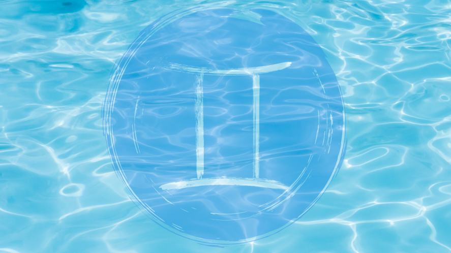 A Gemini symbol in a swimming pool