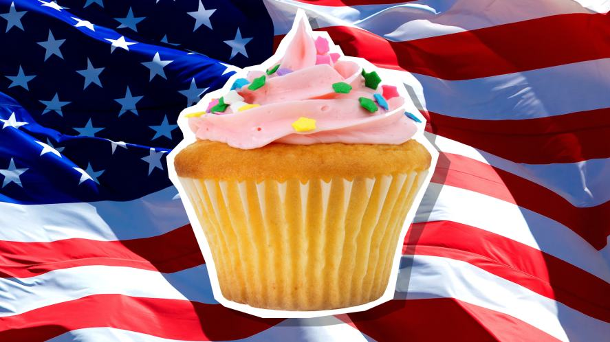 A cupcake in front of the USA flag