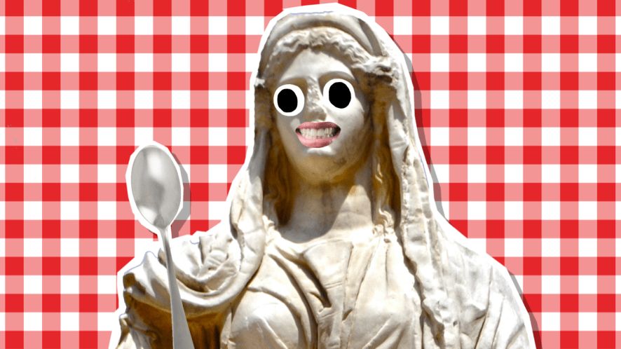 Ceres, holding a metal spoon