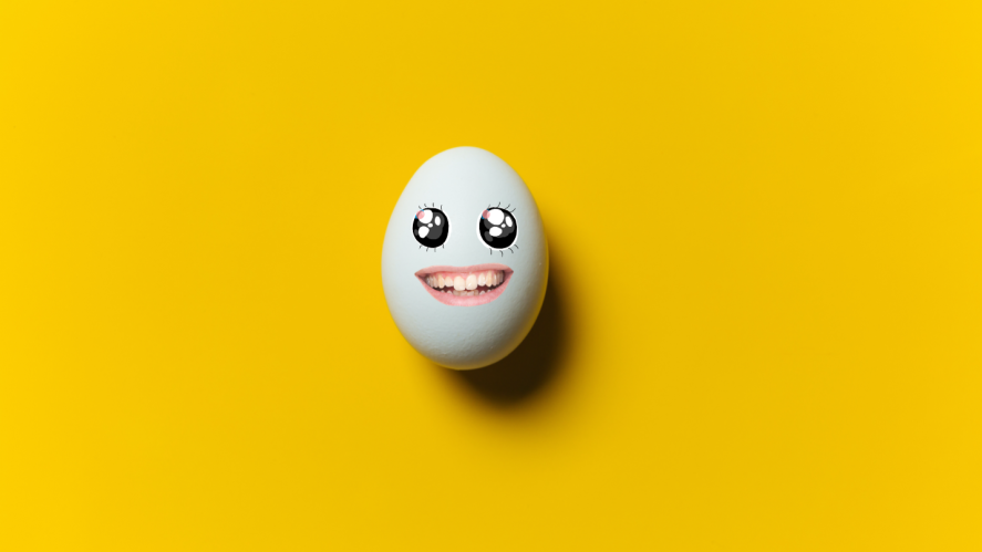 An egg with a happy face