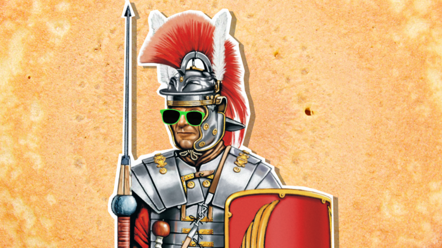 A Roman soldier against a pancake background