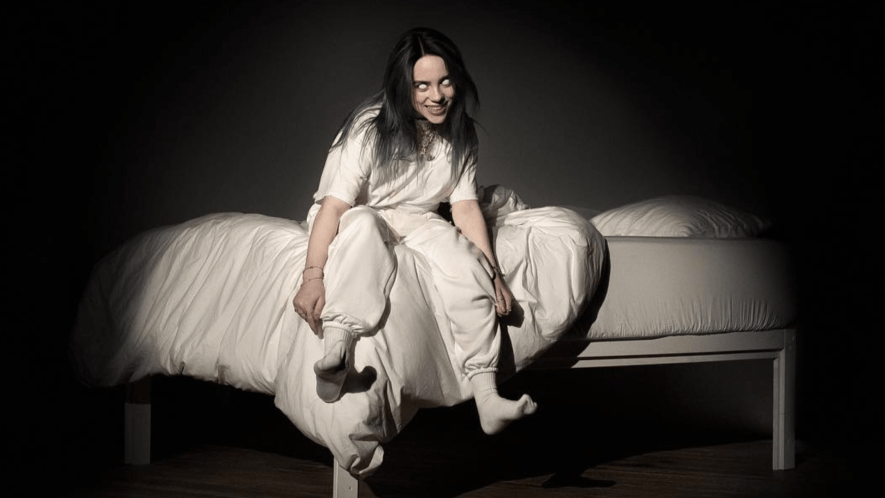 Billie Eilish on the cover of her album, When We All Fall Asleep, Where Do We Go?