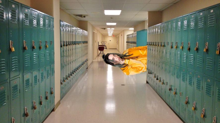 Billie Eilish in a school corridor
