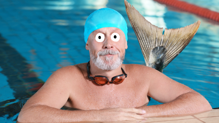 A male mermaid in a local swimming pool