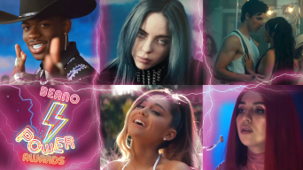 From top left to top right: Lil Nas X, Billie Eilish, Shawn Mendes & Camilla Cabeo. From bottom left to bottom right: Beano Power Awards logo, Ariana Grande, Ava Max