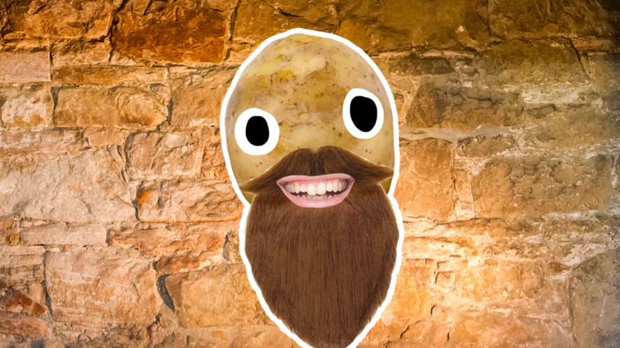 A potato dressed like Nearly Headless Nick