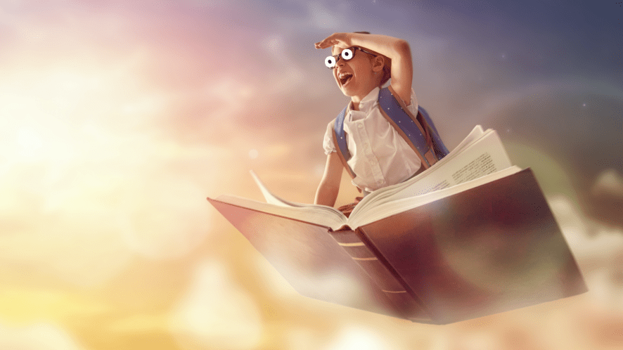 A girl sitting on a flying book