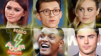 From top left to top right: Zendaya, Tom Holland, Brie Larson. From bottom left to bottom right: Beano Power Awards logo, Will Smith, Zac Efron